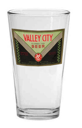Valley City Beer Label Pint Glass