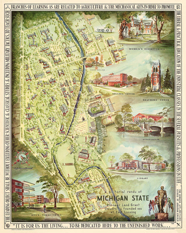 A Pictorial Rendu of Michigan State, 1955 Print