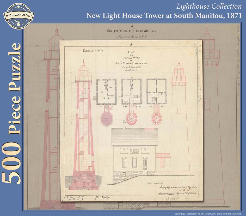 South Manitou Lighthouse Architectural Drawing Puzzle