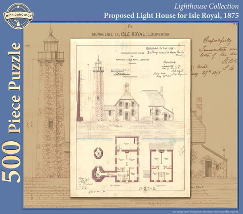 Isle Royal Lighthouse Architectural Drawing Puzzle