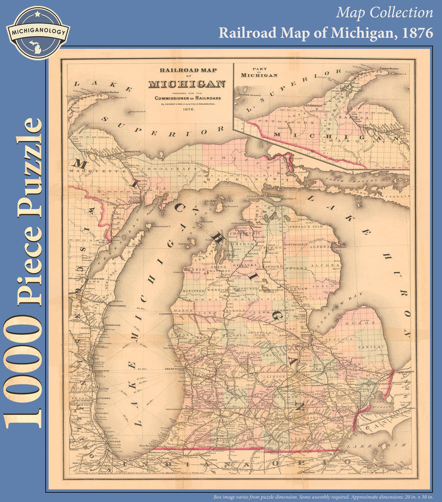 Railroad Map of Michigan, 1876 Puzzle
