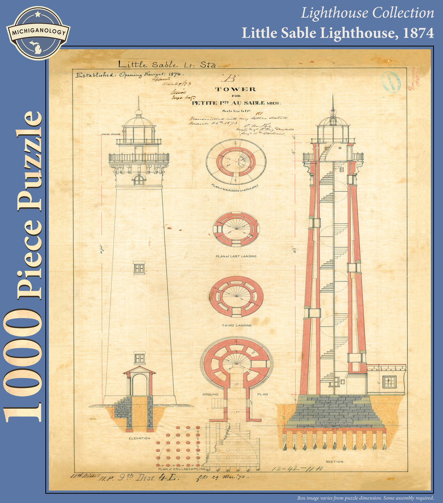 Little Sable Lighthouse Architectural Drawing Puzzle