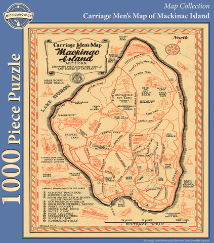 Carriage Men's Map of Mackinac Island Puzzle