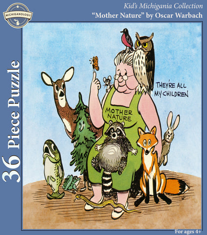 Box cover; Cartoon of Mother Nature surrounded by woodlands animals