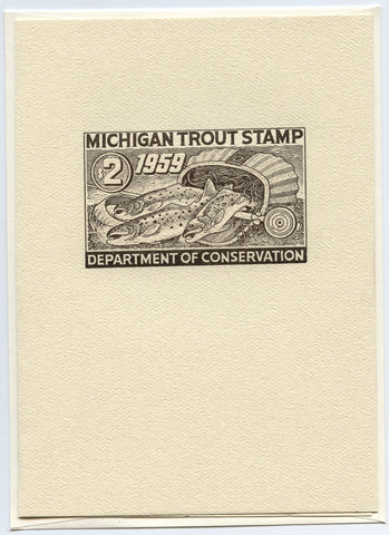 1959 Michigan Trout Stamp Note Card