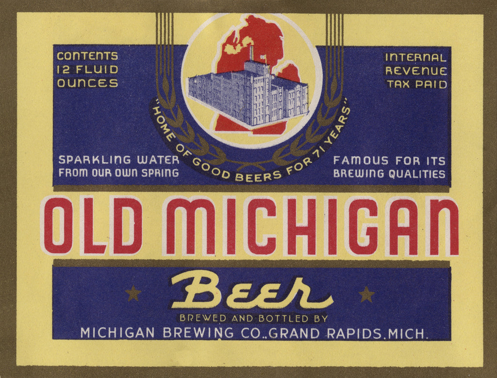 Old Michigan Beer Label Print