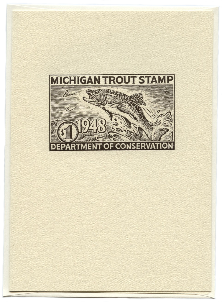 1948 Michigan Trout Stamp Note Card