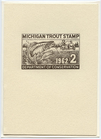 1962 Michigan Trout Stamp Note Card