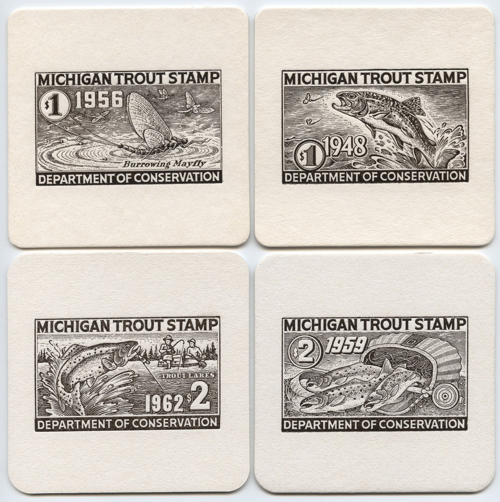 Michigan Trout Stamp Coasters