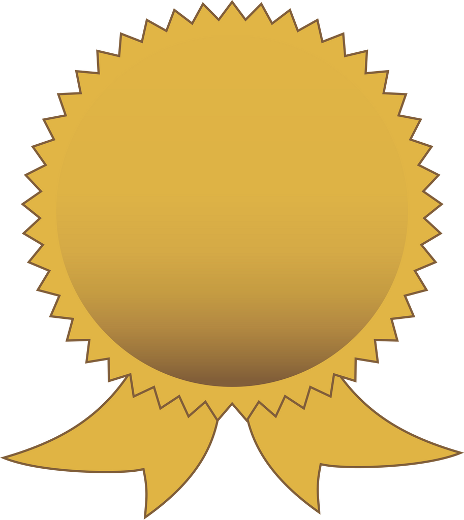 Vector image of a round gold badge with two short ribbons coming from the bottom.