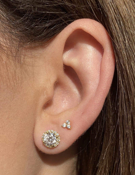 1 ct Micropave Halo Studs 14k Gold earrings-studs