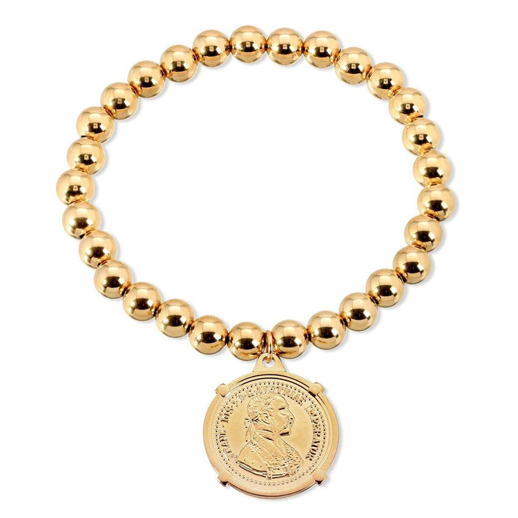 6mm Gold Fill Coin Stretch Bracelet bracelet-adjustable