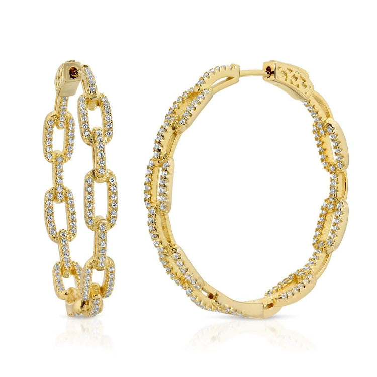 Chain Link Hoop Earrings Gold earrings-hoops