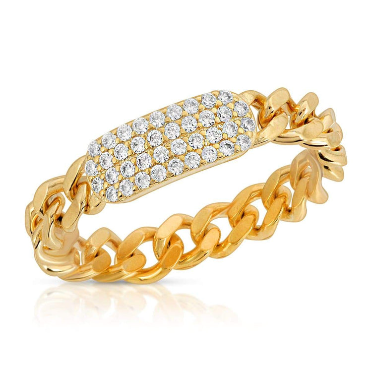 Chain Pave Bar Ring 5 / Gold ring