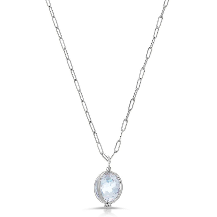 Crystal Ball Necklace Rhodium necklace-long