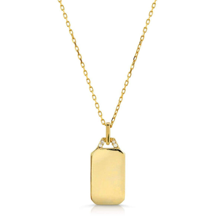 CZ Dog Tag Necklace necklace-short
