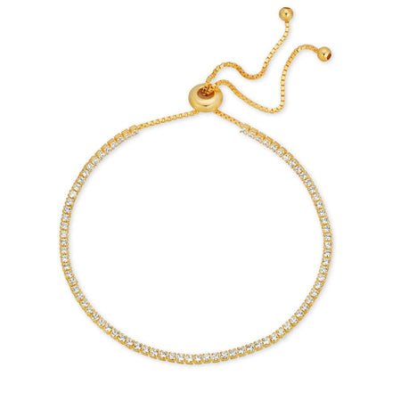 CZ Pull-Tie Bracelet Gold bracelet-adjustable