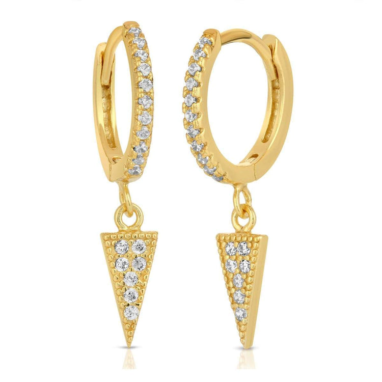 Dangle Triangle Earrings Gold earrings-huggies