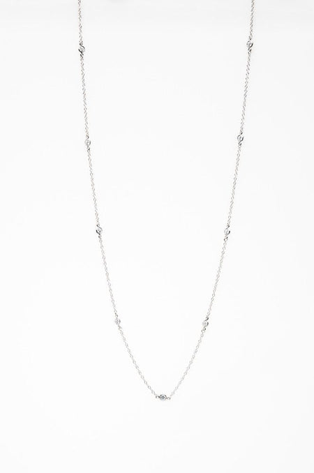 Sterling Silver Rhodium Plated Cz Diamond By The Yard Necklace Necklace-Long