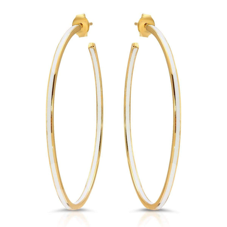 Enamel Hoop Earrings White earrings-hoops