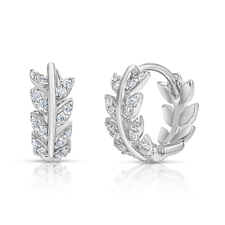Goddess Leaf Huggies Rhodium earrings-huggies