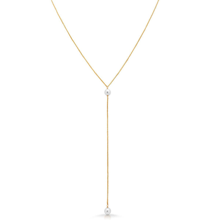 Gold Fill Double Pearl Lariat necklace-long