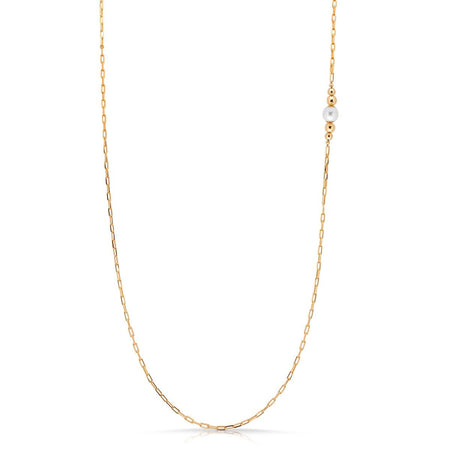 Gold Fill Pearl Lariat necklace-long