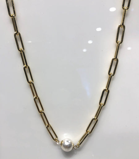 Gold Fill Pearl Link Necklace necklace-long