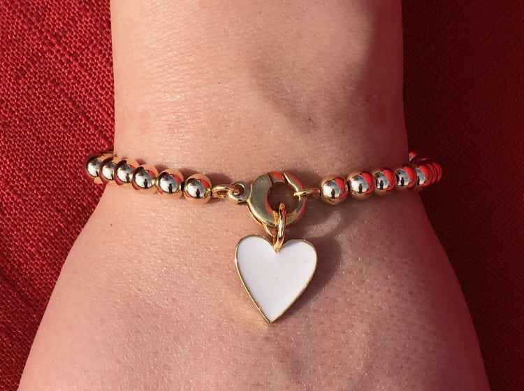 Gold Filled Bead Enamel Heart Bracelet bracelet-adjustable