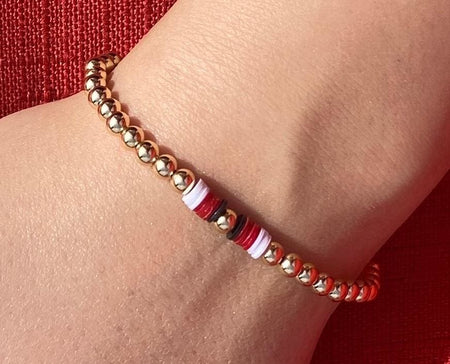 Gold Filled Red Heishi Bead Bracelet bracelet-adjustable
