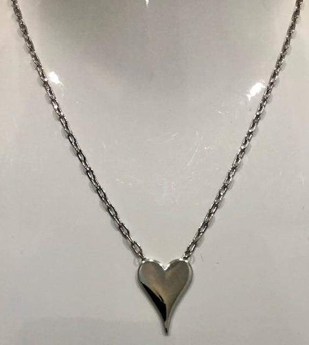 Sterling Silver Rhodium Plated Heart Necklace necklace-short