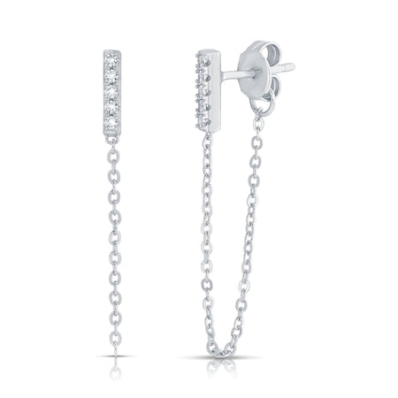 Kendall Chain Earrings Rhodium New Arrivals