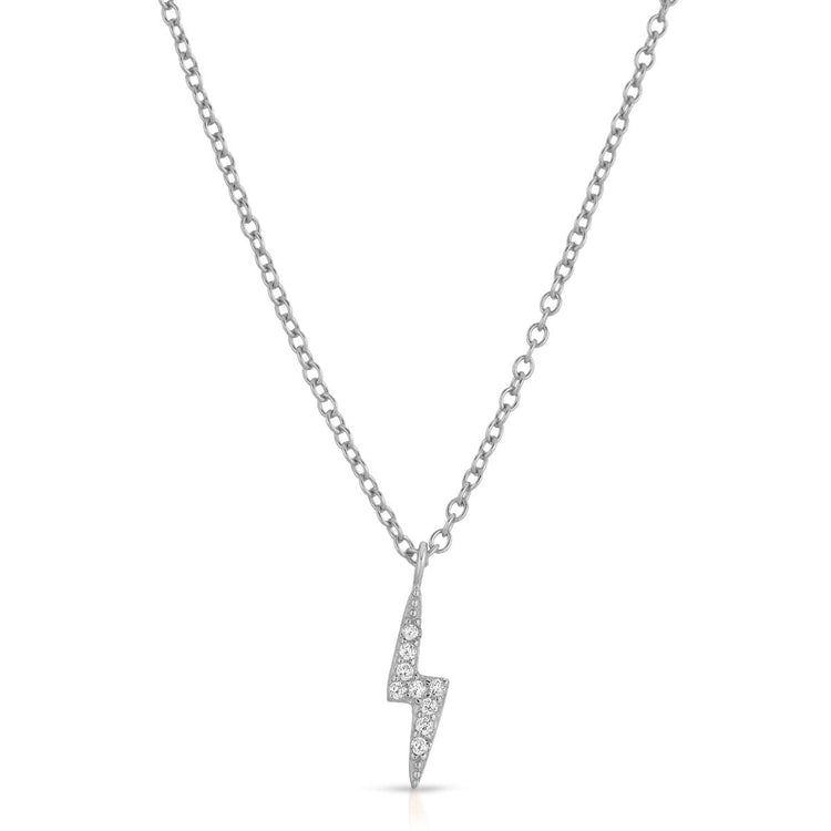 Lightning Bolt Necklace Rhodium necklace-short