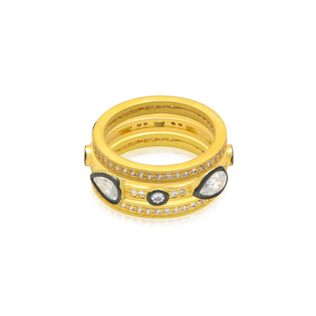 Lunar Rings Set 6 / Gold ring-stackable