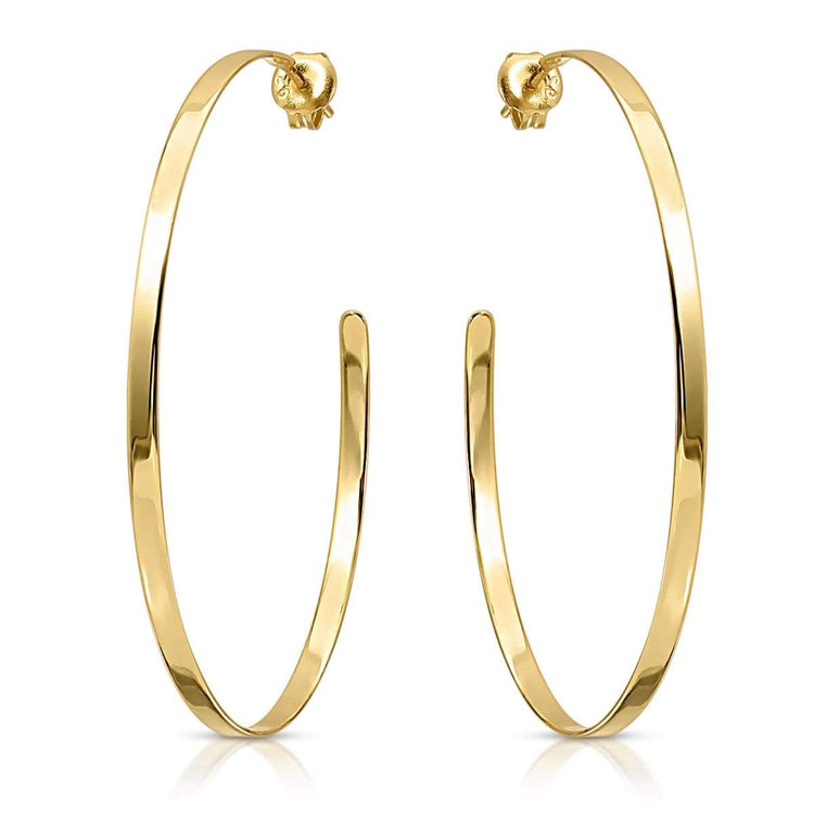 Medium High Shine Hoops Gold Earrings-Hoops