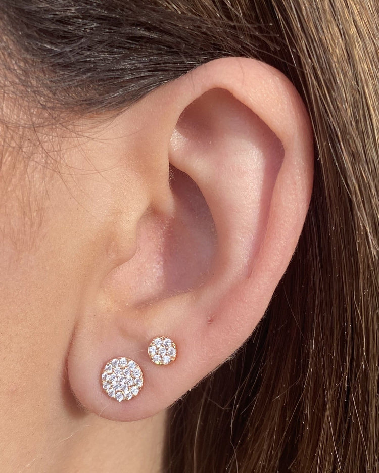 Medium Micropave Studs 14k Gold earrings-studs