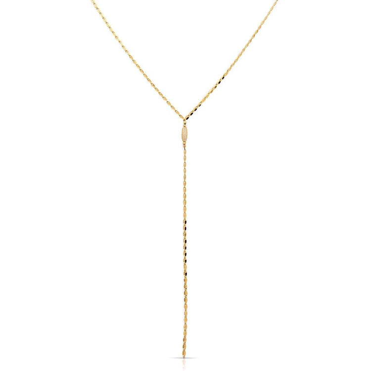 Micro Bead Twinkle Lariat Gold necklace-lariat