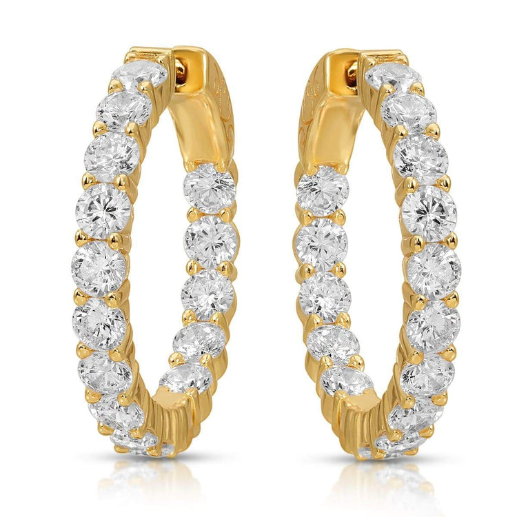 Micro Pave CZ Hoops Gold Plated earrings-hoops