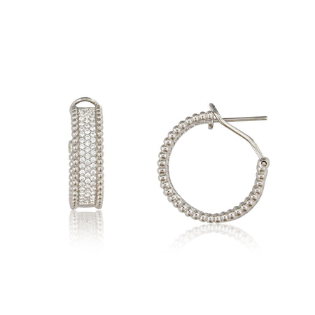 Micro Pave Hoops Rhodium earrings-hoops