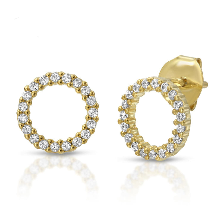 Open Circle Studs Gold Plated earrings-studs