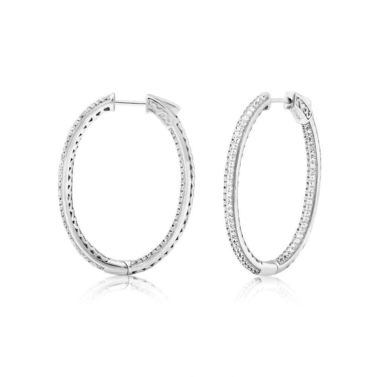 Pave Hoops Rhodium Earrings-Hoops