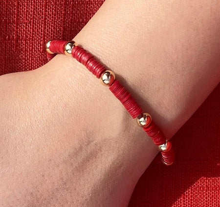 Red Heishi Bead Bracelet bracelet-adjustable