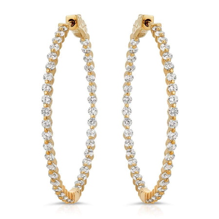 Round CZ Hoops Gold Earrings