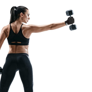 Woman holding a dumbbell with MAGRIP weight lifting gloves