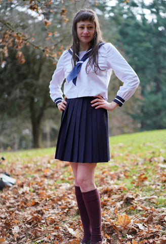 Classy Seifuku, Sailor Shirt And Custom Skirt Length Pleated Skirt