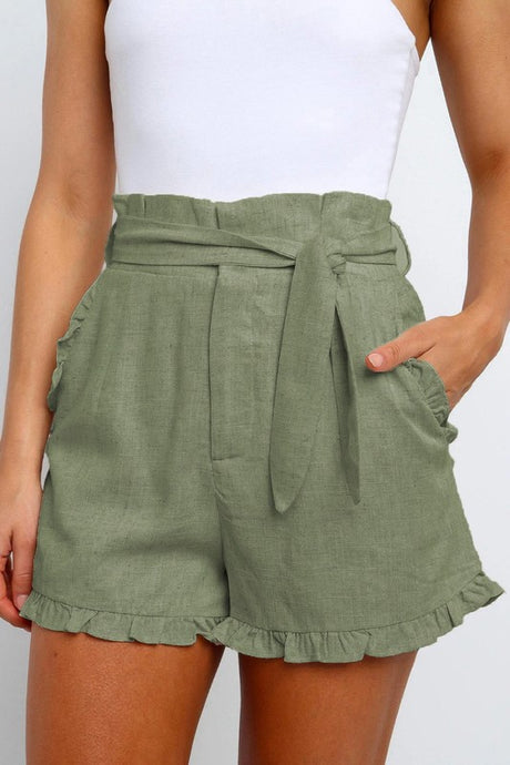 High Waisted Short With Ruffle Trim