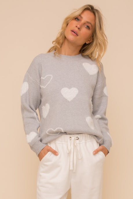 Pullover Round Neck Heart Sweater