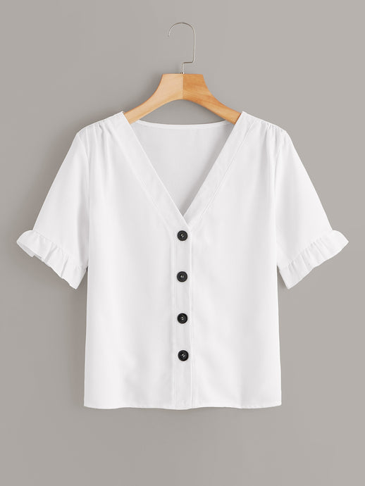 V-Neck Button Down Short Sleeve Blouse