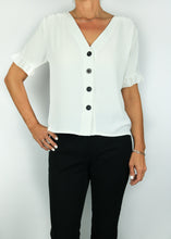 Load image into Gallery viewer, V-Neck Button Down Short Sleeve Blouse
