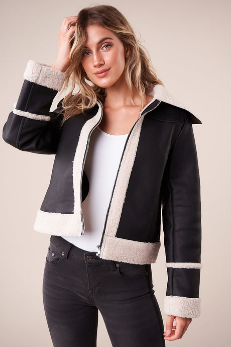 Embers Sherling Faux Leather Jacket